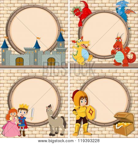 Four frame with fairytales characters illustration