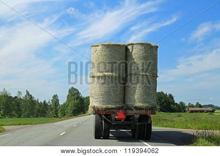 Hay Bales Transport On Tractor Trailer