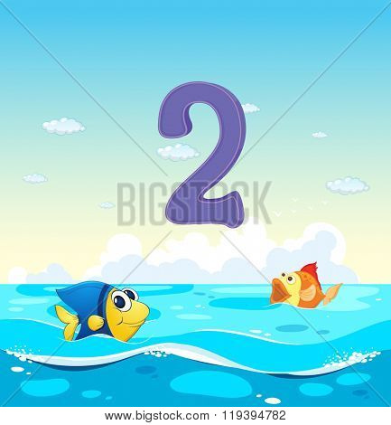 Number two with 2 fish in the ocean illustration