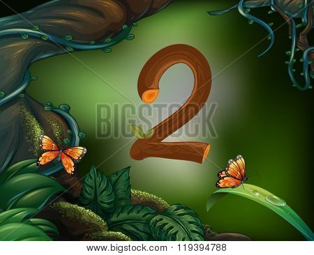 Number two with 2 butterflies in the garden illustration
