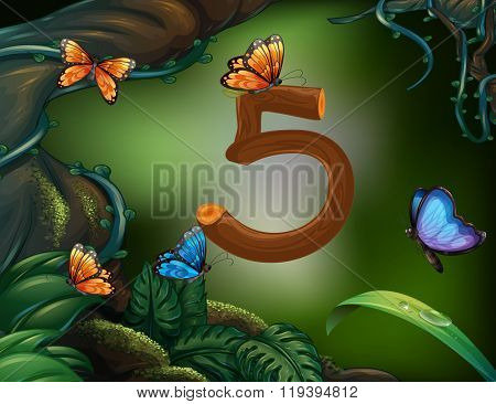 Number five with 5 butterflies in the garden illustration