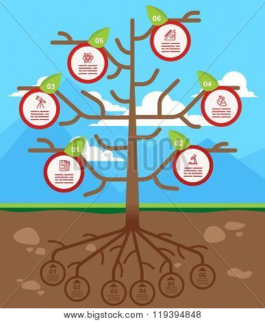 Tree infographics template for ecology, recycling, nature themed charts, diagrams and business presentations