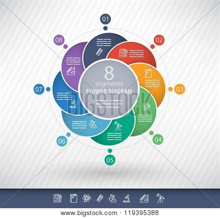 8 sided circular presentation template with educational icons and space for text