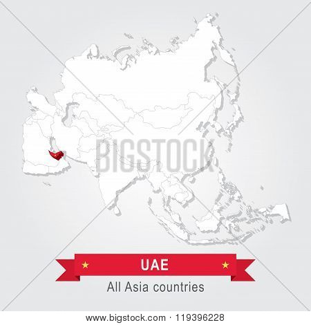 UAE. All the countries of Asia.