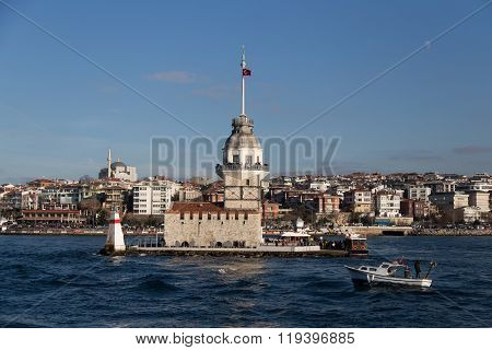 Maidens Tower In Bosphorus Strait, Istanbul City, Turkey