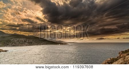 Moody Sky Over The Coast Of Corsica Near Ile Rousse