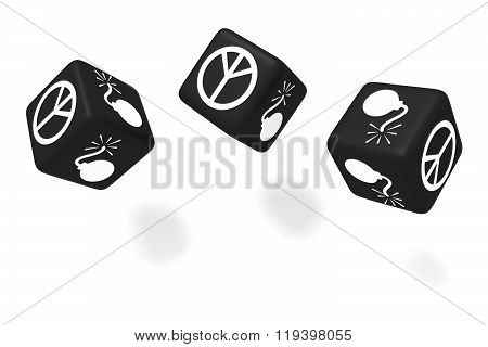 War or Peace: black dice on a white background