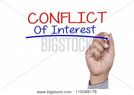 Business Concept Handwriting Marker And Write Conflict Of Interest Isolated On White Background