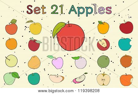 Big set of apples with vintage colors
