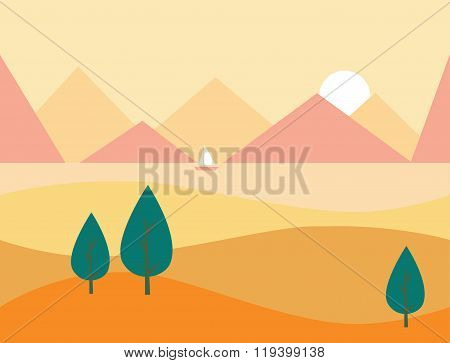 Seamless Cartoon Nature Landscape with Mountains, Vector Illustration
