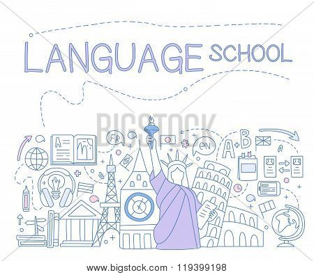 Language School Infographics. Vector Illustration