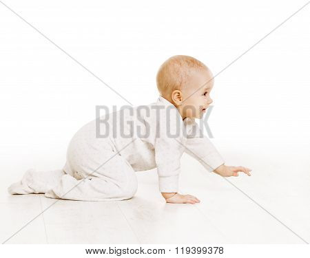Toddler Crawling In White Baby Onesie, Active Kid Creeping Over White