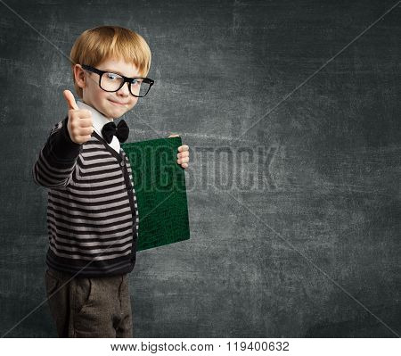 School Child In Glasses Thumbs Up, Kid Boy Hold Book Certificate, Education
