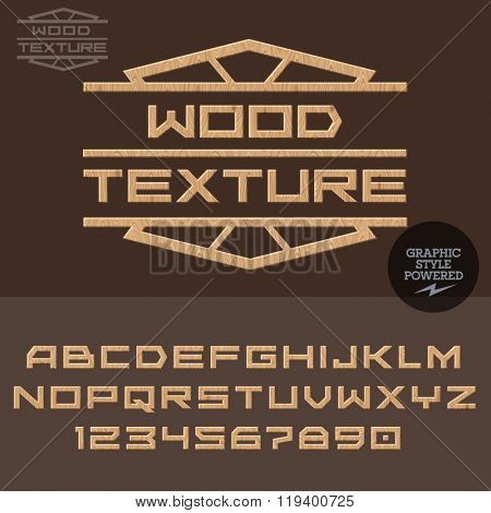 Wooden logotype for work with wood. Vector set of letters and  numbers