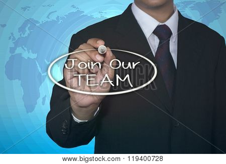 Join Our Team with marker, business concept