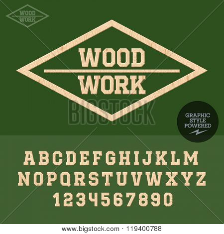 Wooden emblem for wood work. Vector set of letters and numbers