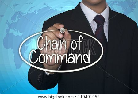 Business concept handwriting marker and write Chain of Command over light blue background with world