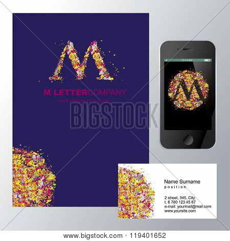Template corporate company signs M-letter_logo_mozaic