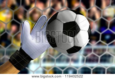 Goal Keeper Hand Stopping A Fast Ball