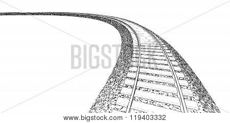 Railroad track silhouettes. Railway tracks cartoon
