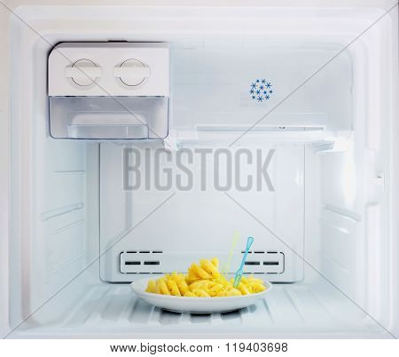 Diet Fruit, Pineapple Dish Put In Freezer Fridge
