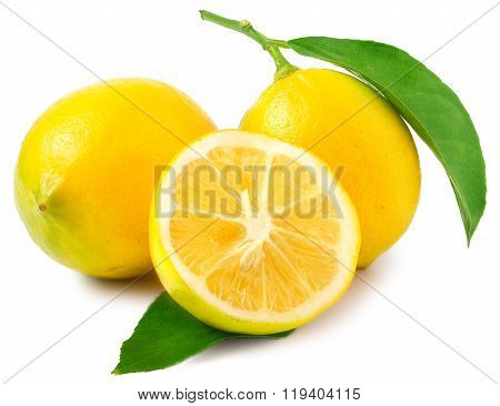 Two Lemons one sliced in half