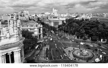 Downtown Madrid in black and white