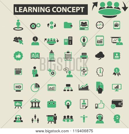 learning concept icons, learning concept logo, learning concept vector, learning concept flat illustration concept, learning concept infographics, learning concept symbols,