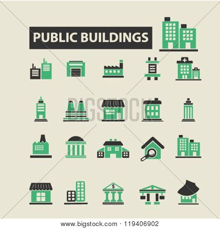 business buildings icons, business buildings logo, business buildings vector, business buildings flat illustration concept, business buildings infographics, business buildings symbols,