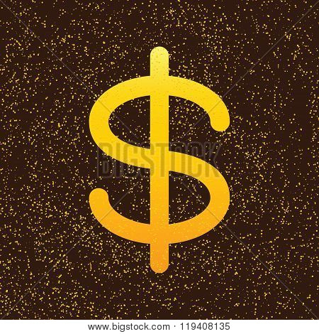Golden Colored Dollar Sign