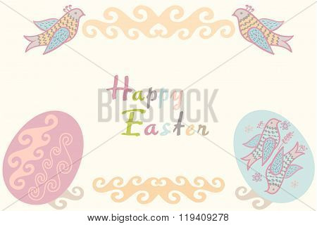Easter card in eggs and text