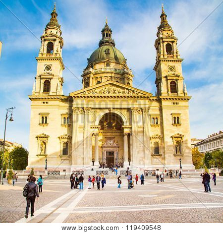 Landmark of Budapest St. Stephen's Basilica in Budapest, Hungary and people near it
