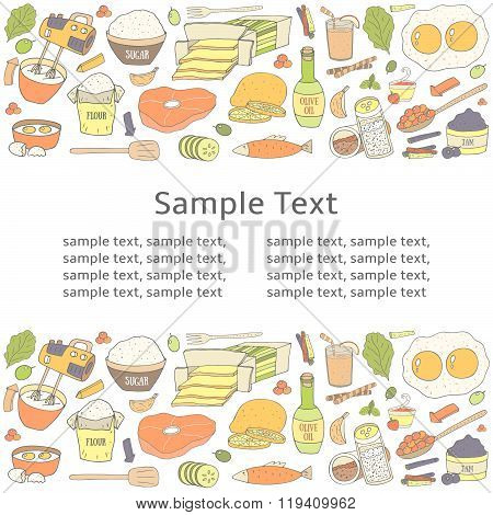 Postcard with food collection and text space