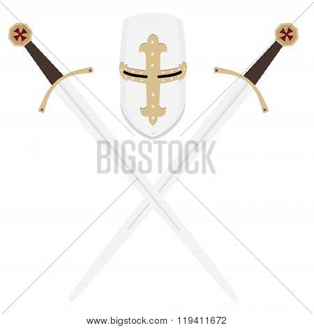 Templar Swords And Helmet