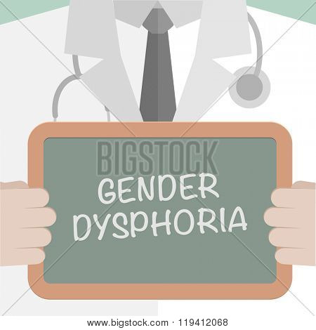 minimalistic illustration of a doctor holding a blackboard with Gender Dysphoria text, eps10 vector