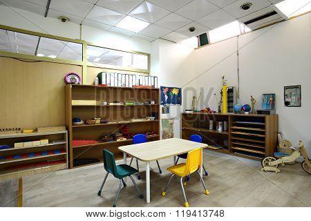 Interior design of Montessori Kindergarten Preschool Classroom