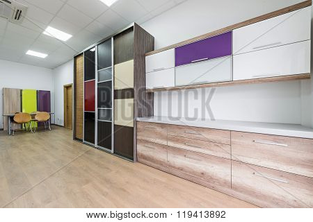 Interior design of showroom for chipboard panels
