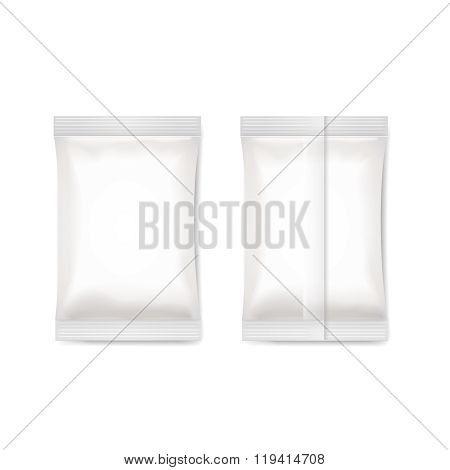 White blank foil packaging sachet   Vector