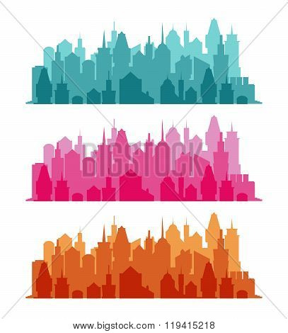 Set of cityscape colorful background