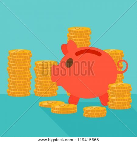 Blue background of piggy bank and golden coins.