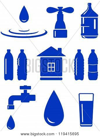 water set of icon with house, faucet, drop, bottle