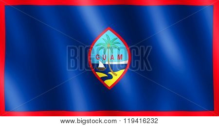 Flag Of Guam Waving In The Wind
