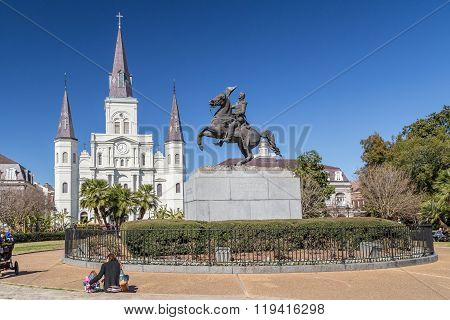 New Orleans, La/usa - Circa February 2016: St. Louis Cathedral, Jackson Square And Monument In Frenc