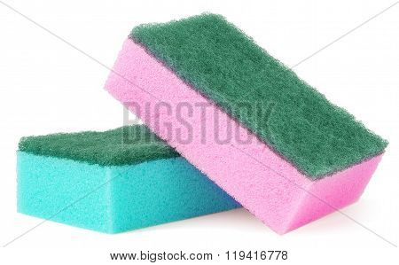 colorful sponges for washing dishes on a white background