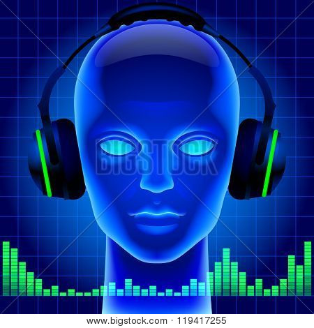 Blue futuristic artificial head with headphones and green graphic equalizer. Metaphor and cover for modern music. Three dimensional stylized drawing