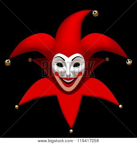 Joker head in red cap an white mask isolated on black. Three Dimensional stylized drawing. Contain the Clipping Path