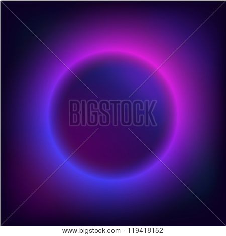 round Border with Light Effects. Planet in space.