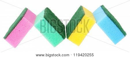 colorful sponges for washing dishes on a white