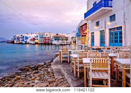 Beautiful Sunrise At Little Venice On Mykonos Island, Greece