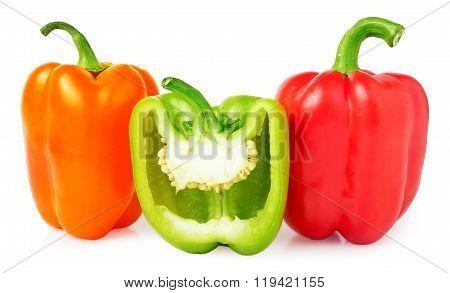 bell peppers with half isolated on white